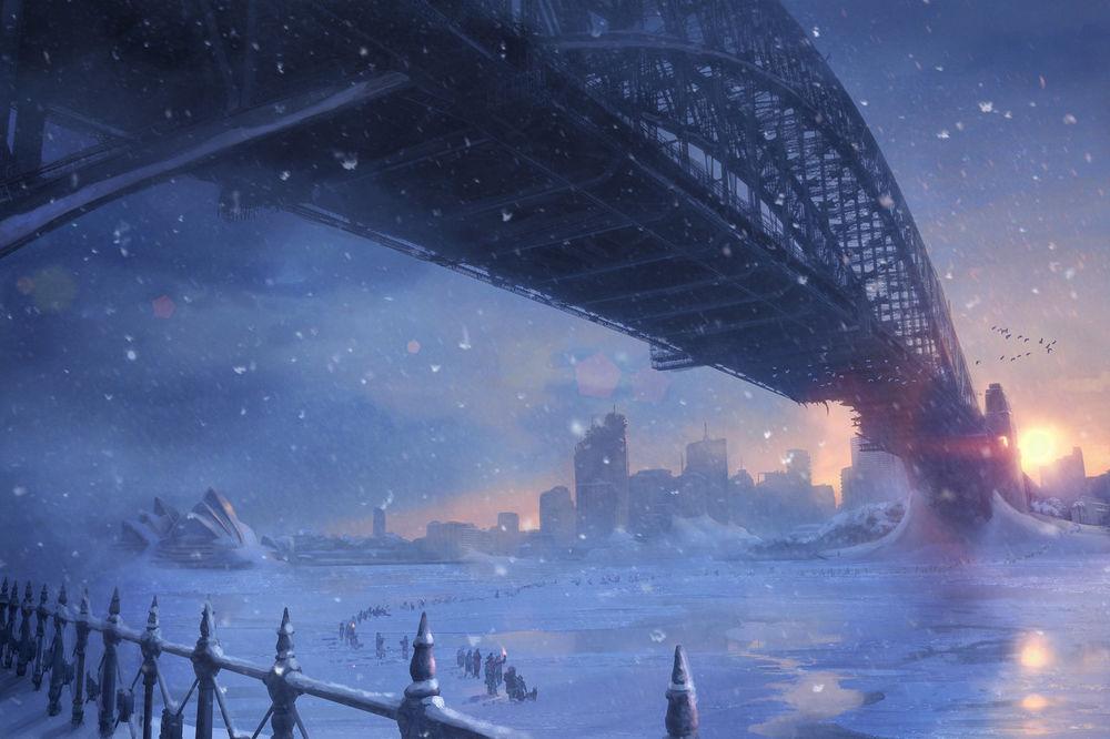 Обои для рабочего стола Люди уходят из города по замерзшей реке под мостом
