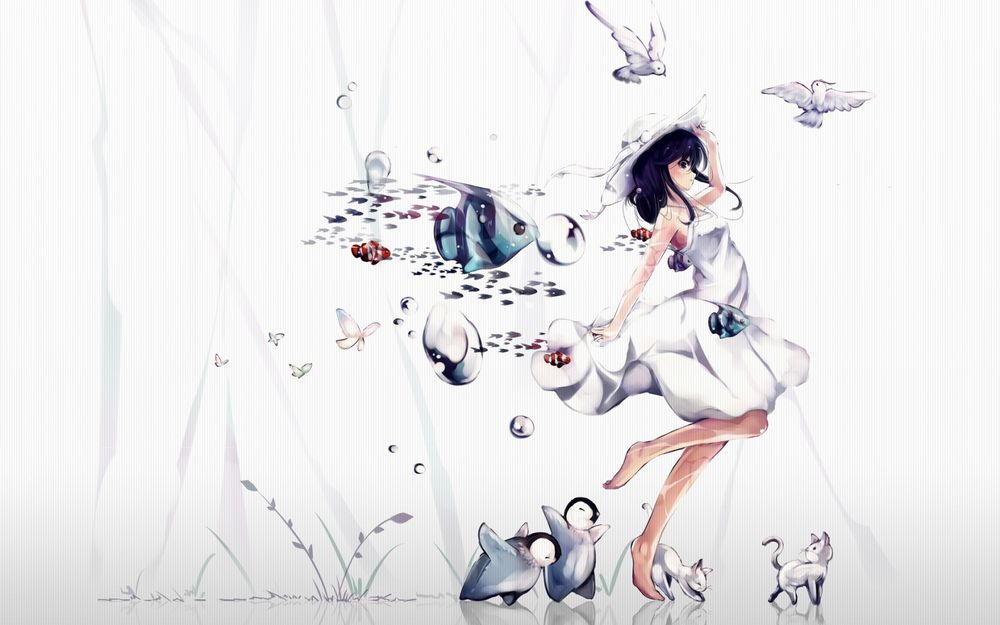 Обои для рабочего стола Девушка в белом платье стоит на зеркальной поверхности в окружение рыбок, пингвинов, котят, бабочек и птиц
