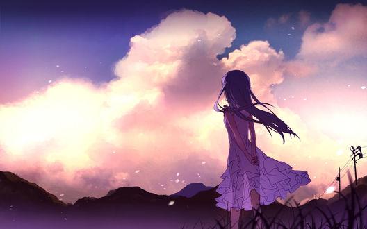 Обои Мэнма (Мэйко Хонма) из аниме Невиданный цветок / Anohana любуется закатом