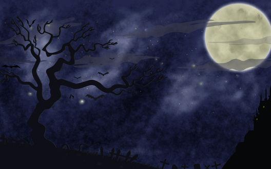 Обои На фоне ночного неба, в котором светит полная луна, растет дерево, летаю летучие мыши, видны силуэты крестов, вдалеке на холме стоит замок