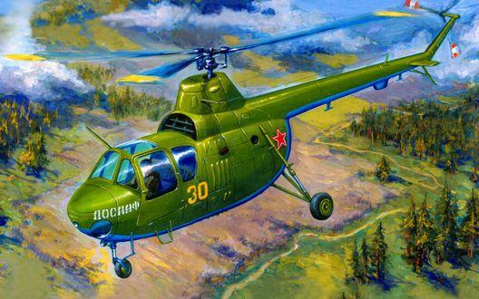 Обои В небе многоцелевой вертолет Ми-1м, ранее состоявший на вооружении Военно-транспортной авиации ВВС России / Russia