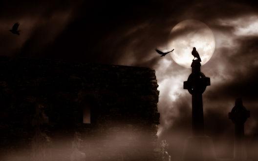Обои Ворон сидит на кресте на фоне полной луны