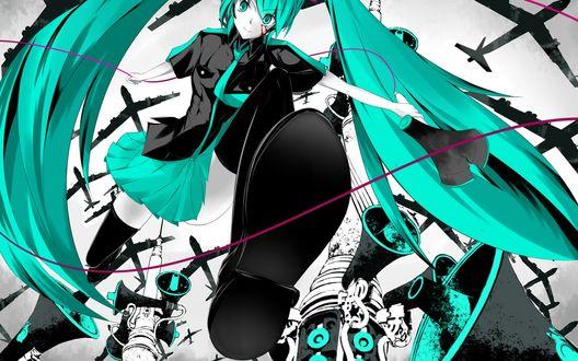 Обои Vocaloid Hatsune Miku / Вокалоид Хатсуне Мику на фоне самолетов и громкоговорителей