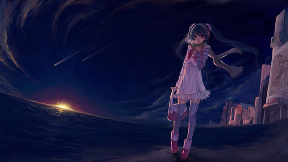 Обои Vocaloid Hatsune Miku / Вокалоид Хатсуне Мику стоит на берегу моря