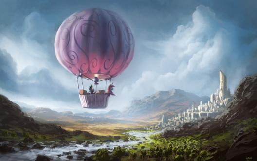 Обои Twilight Sparkle & Spike / Твайлайт Спаркл (Сумеречная Искорка) и Спайк летят на воздушном шаре, art / арт по мотивам мультсериала Мои маленькие пони: Дружба - это чудо / My Little Pony: Friendship is Magic