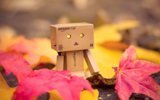 Обои Коробочный человечек Данбо / Danbo стоит среди опавших осенних листьев