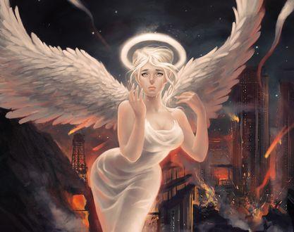 Обои Светловолосая девушка-ангел плачет, стоя на фоне горящего города