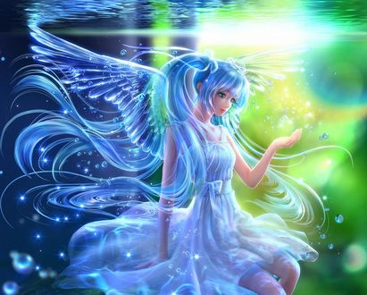 Обои Vocaloid Hatsune Miku / Вокалоид Хатсуне Мику с ангельскими крыльями за спиной под водой