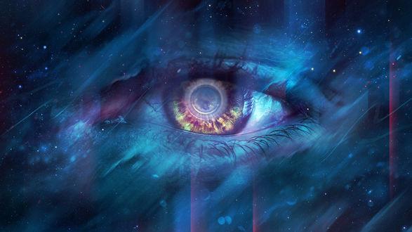 Обои Женский глаз в звездном небе