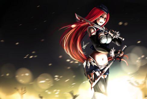 Обои Девушка с татуировкой в области глаза, кровью на лице с мечами в руках