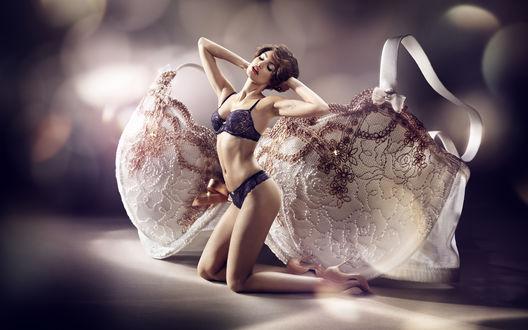 Обои Модель Natalia Andrade / Наталья Андраде в нижнем белье на фоне большого лифчика