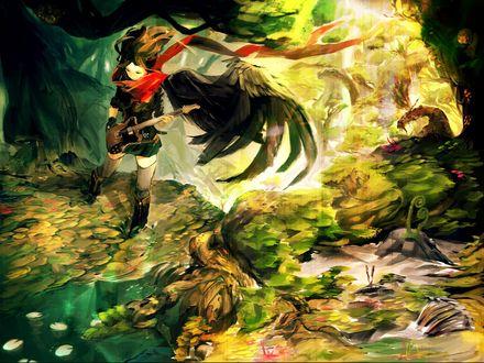 Обои Девушка с черными крыльями за спиной, с гитарой в руках стоит в воде, среди листьев кувшинок