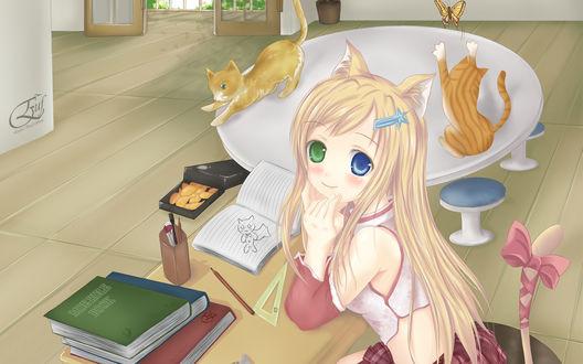 Обои Неко-девушка сидит за столом, на котором лежат книги, открытая тетрадка, карандаш, линейка и стоит стаканчик с ручками, рядом стоит еще один стол на котором сидит кошка, пытающаяся поймать бабочку, вторя кошка собирается спрыгнуть со стола, на полу лежит открытая коробка с печеньем, в виде рыбок