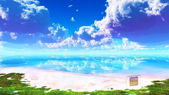 Обои Морской берег, в котором отражаются небо и облака, на берегу стоит табличка с надписью Welcome to Eden / Добро пожаловать в Эдем