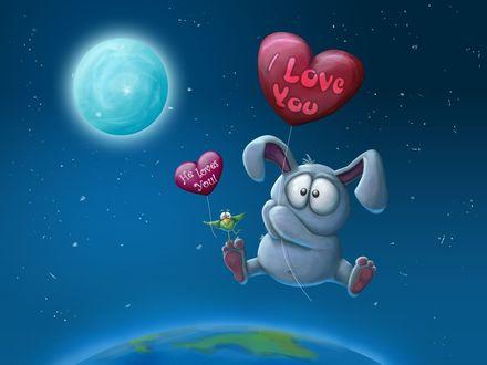 Обои Заяц летит над планетой с воздушным шаром, на котором надпись I Love You / Я тебя люблю, на лапе зайца сидит птица с воздушным шаром в форме сердца, на котором надпись He Loves You! / Он любит тебя!