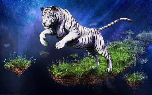 Обои Тигр на летящем островке земли