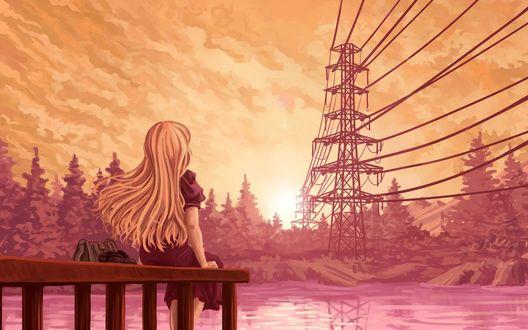 Обои Девушка сидит на пирсе у пруда, смотря на закат солнца
