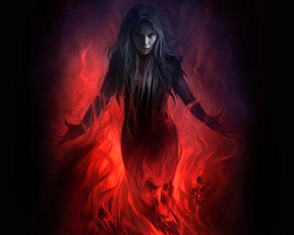 Обои Темноволосая девушка в огне