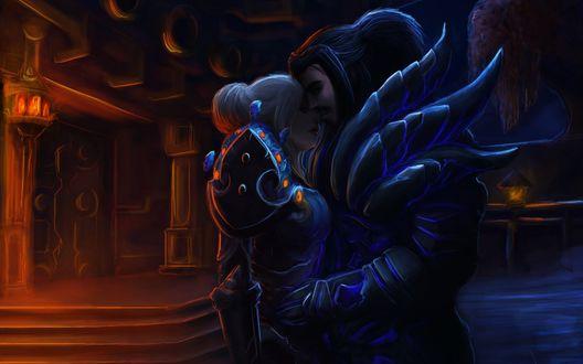 Обои Человек воин обнимает девушку паладинку / арт к игре World Of Warcraft