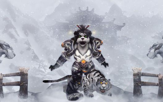 Обои Пандаренка-монах на фоне заснеженного Храма Белого Тигра / арт к игре World Of Warcraft