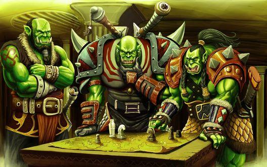Обои Трое орков решают военные вопросы над картой / арт к игре World Of Warcraft
