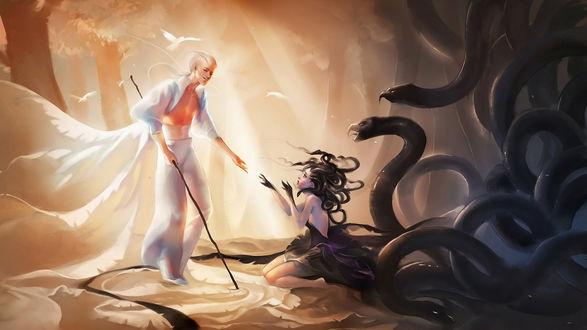 Обои Парень в белом одеянии и посохом подает руку девушке сидящей на земле, позади девушки черные змеи