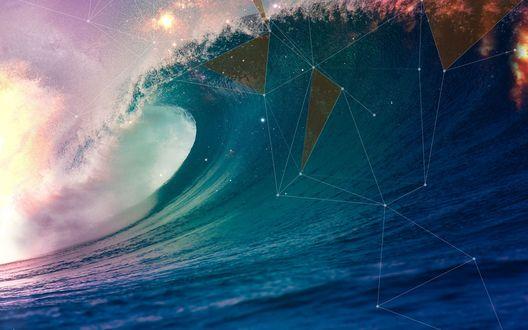 Обои Абстрактная фигура на фоне волны