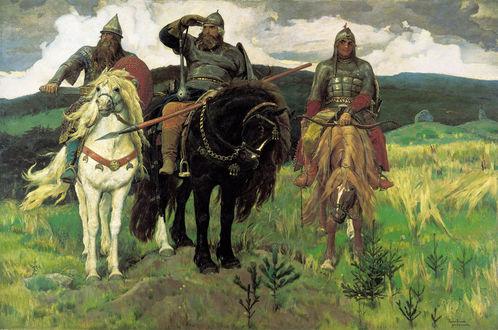 Обои Три богатыря: Илья Муромец, Алеша Попович и Добрыня Никитич на лошадях, художник Виктор Васнецов