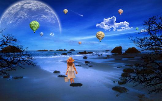 Обои Девочка в соломенной шляпе с розовой ленточкой, держа в руке ведерко, идущая по песчаному морскому побережью на фоне парящих в небе разноцветных воздушных шаров и появившихся планет солнечной системы