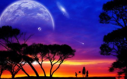Обои Силуэт матери, державшей за руку дочь и стоящего рядом сына с надувным воздушным шариком, стоящие возле деревьев на фоне багряного заката, синего неба, падающих комет и появившихся планет солнечной системы