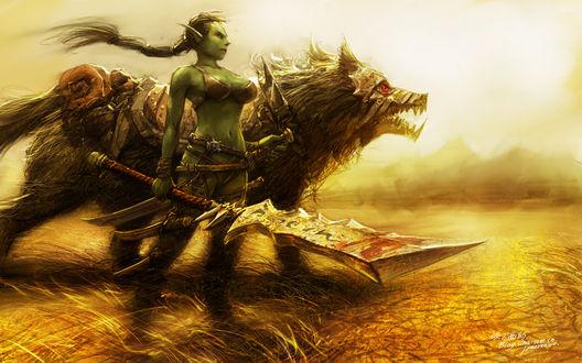 Обои Девушка орк-воин с волком / арт к игре World Of Warcraft художник Yaorenwo
