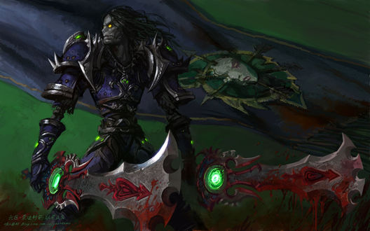 Обои Отрекшийся - воин с мечами в руках на фоне флага Подгорода / арт к игре World Of Warcraft художник Yaorenwo