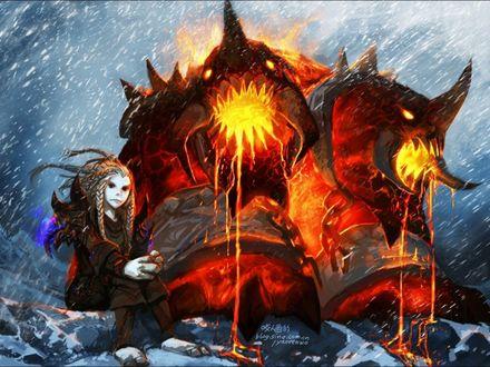 Обои Тролль - охотница с адской гончей / арт к игре World Of Warcraft художник Yaorenwo