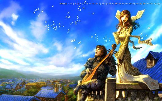 Обои Человек играет на лютне для девушки-жрицы на крыше дома в Штормграде / арт к игре World Of Warcraft художник Yaorenwo