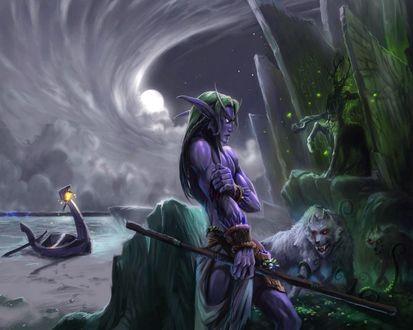 Обои Раненый ночной эльф на берегу моря в Аубердине / арт к игре World Of Warcraft