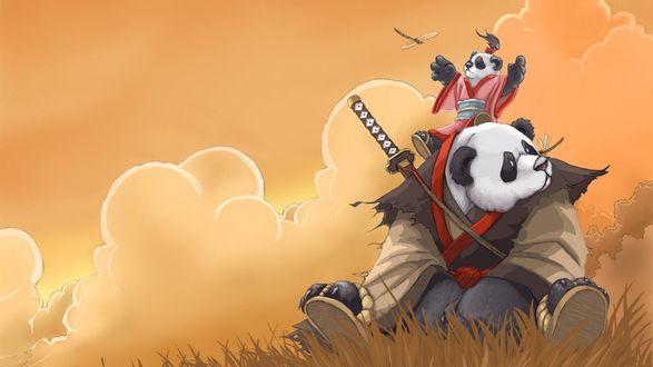 Обои Пандарен с катаной за спиной и с маленьким ребенком на плечах, который играет со стрекозой / арт к игре World Of Warcraft