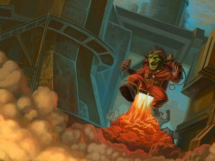 Обои Гоблин инженер взлетает на ракете, сзади ругаются и сотрясают кулаками люди / арт к игре World Of Warcraft