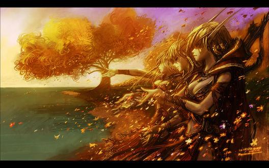 Обои Эльфы крови стоят на берегу озера и смотрят на падающие осенние листья / арт к игре World Of Warcraft художник Yaorenwo
