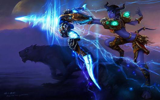Обои Дренейка - охотница со сверкающим луком в руках / арт к игре World Of Warcraft художник Yaorenwo