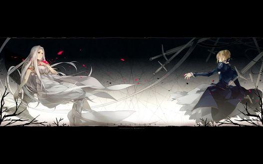 Обои Ирисфиль фон Айнцберн / Айрисвиль / Ирисвиль / Irisviel von Einzbern / Айри / Iri и Сейбер / Сэйбер / Saber из аниме Судьба: начало / Fate / Zero, стоят напротив друг друга на фоне мечей и веток деревьев