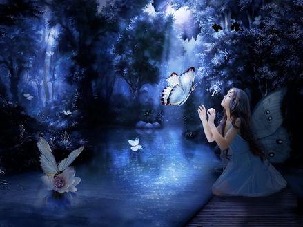 Обои Длинноволосая девушка с крылышками бабочки, сидящая на деревянном настиле, расположенном на берегу сказочного острова, протягивает руки к подлетающей бабочки, водная поверхность озера освещается луной сквозь листву деревьев, фотография Nataliorion