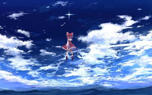 Обои Рейму Хакурей / Reimu Hakurei из игры Тохо / Проект Восток / Touhou Project стоит в небе