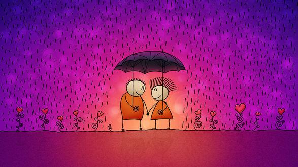 Обои Рисованные мальчик и девочка стоят под зонтом, идет дождь, по обе стороны от них растут цветы в виде сердечек