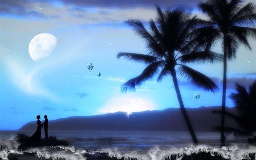 Обои Силуэт мужчины, держащего свою возлюбленную за руки, стоящие на морском побережье в окружении пальм на фоне парящих в небе воздушных шаров, взошедшей планеты