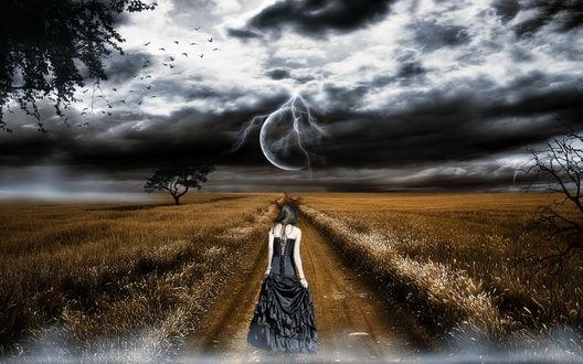 Обои Стройная черноволосая женщина в длинном черном платье, идущая по проселочной дороге, проложенной по полю на фоне темных грозовых туч, сверкающих молний, взошедшей планеты, парящих в небе птиц