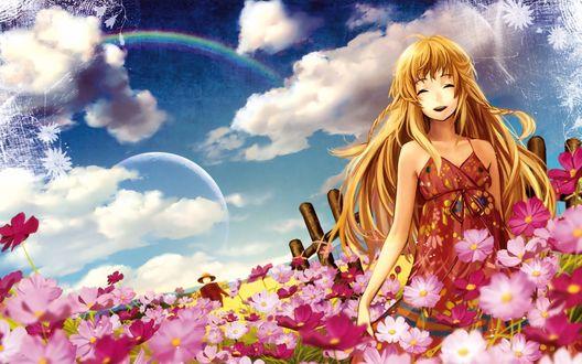 Обои Светловолосая девушка смеется, стоя среди цветов, на фоне неба, в котором радуга