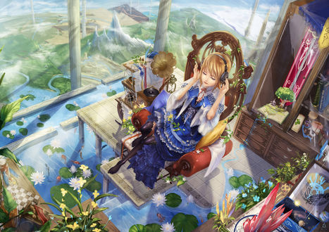 Обои Девушка в наушниках на голове сидит в кресле, стоящем на каком возвышение, находящемся в воде, в которой растут лотосы и плавают рыбы, рядом с девушкой стоит этажерка, на которой стоят разные предметы, сзади стоит шкаф, из окна видны горы