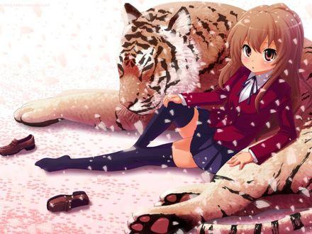 Обои Айсака Тайга / Aisaka Taiga из аниме ТораДора / ToraDora, сидящая возле полосатого тигра под падающими лепестками