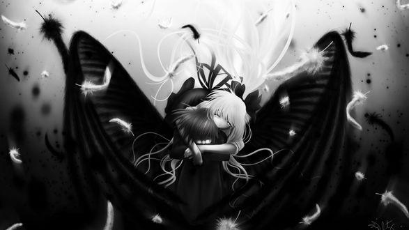 Обои Парень-ангел сидит, обхватив себя руками, сзади его обнимает светловолосая девушка