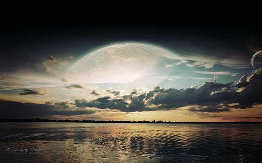 Обои Озеро с видом на планету, A Dreamy World. A mans dreams are an index to his greatness / Мечтательный Мир. Мечты человека являются индексом его величия